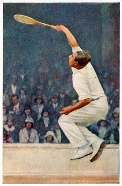 """Daniel Prenn """"schmettert"""" beim Wimbledon-Turnier. Bild: Handbuch des Sports, Astra Margarine; Sammlung Buschbom."""